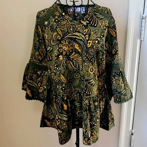 DENIM & CO PAISLEY BELL SLEEVE BLOUSE WITH TRIM